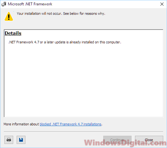 NET Framework 4.7 already installed