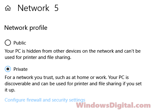 Network profile private to enable Nearby Sharing Windows 10