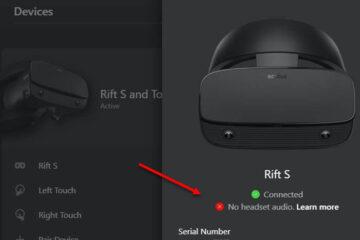 Oculus Rift S No Headset Audio Windows 10