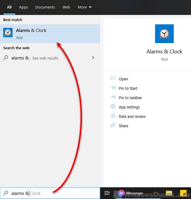 Open Alarms Clock app in Windows 10