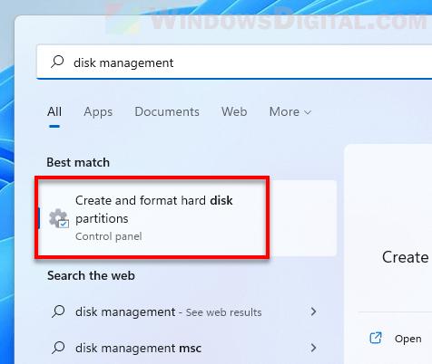 Open Disk Management Windows 11