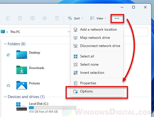 Open Folder Options in Windows 11
