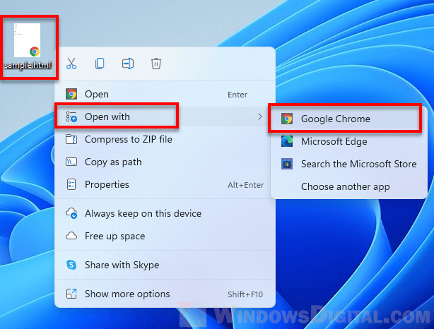 Open HTML file with Chrome in Windows 11