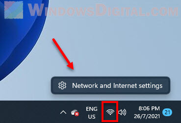 Open Network and Internet settings Windows 11