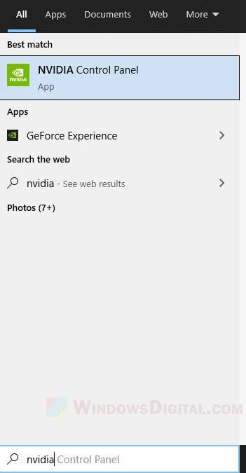 Open Nvidia Control Panel Windows 10