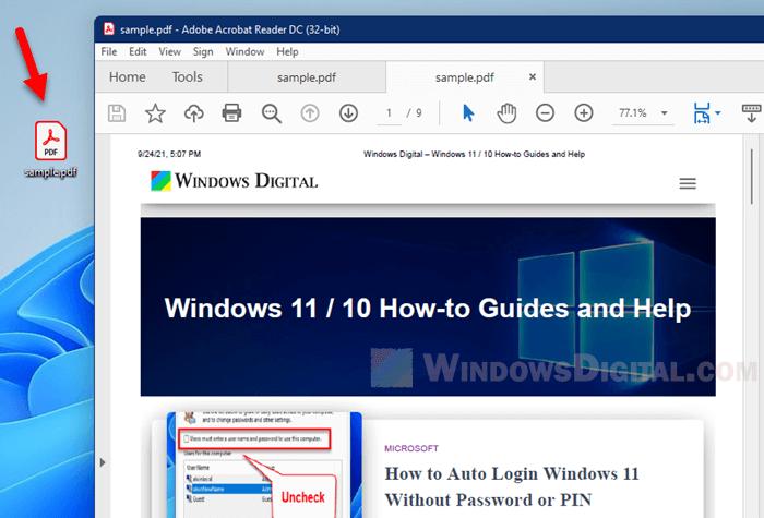 Open PDF file in Windows 11