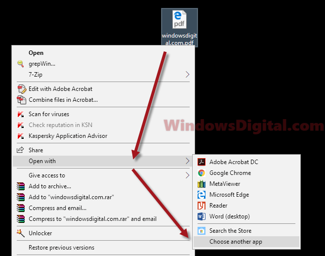 Open PDF with Adobe Reader not chrome Edge firefox
