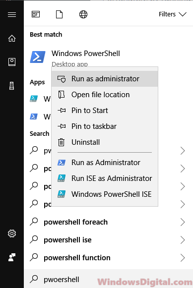 Open PowerShell run as administrator Windows 10