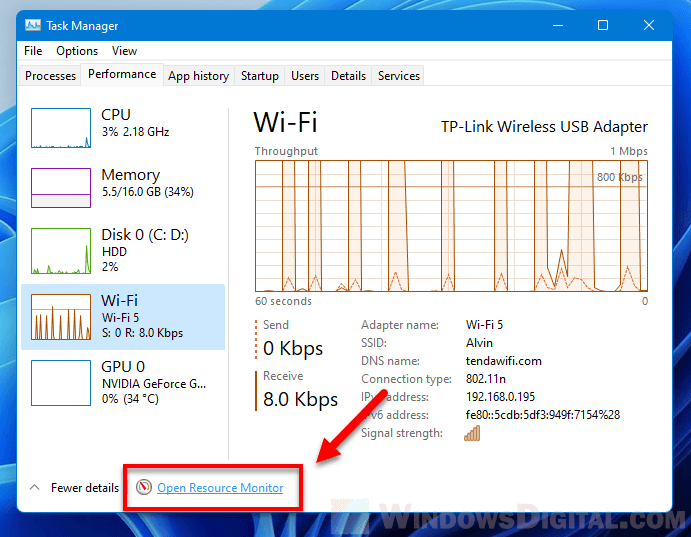 Open Resource Monitor Windows 11