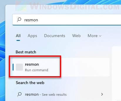 Open Resource Monitor via Windows 11 Start