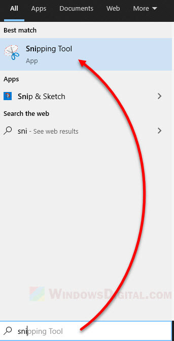 Open Snipping Tool Windows 10
