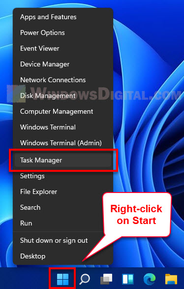 Open Task Manager Windows 11