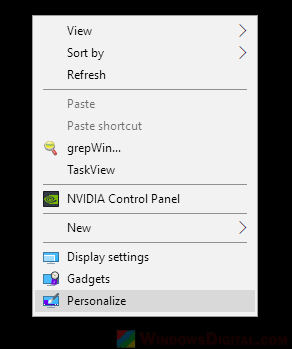 Open Windows 10 Personalize settings for dark mode
