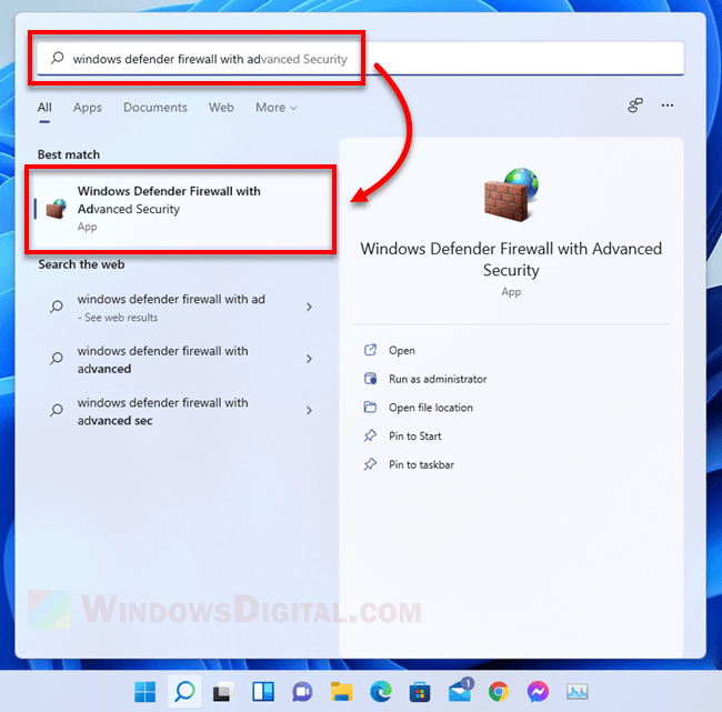 Open Windows Defender Firewall with Advanced Security Windows 11