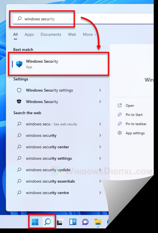 Open Windows Security Windows 11