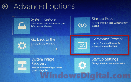 Open command prompt via Windows recovery mode