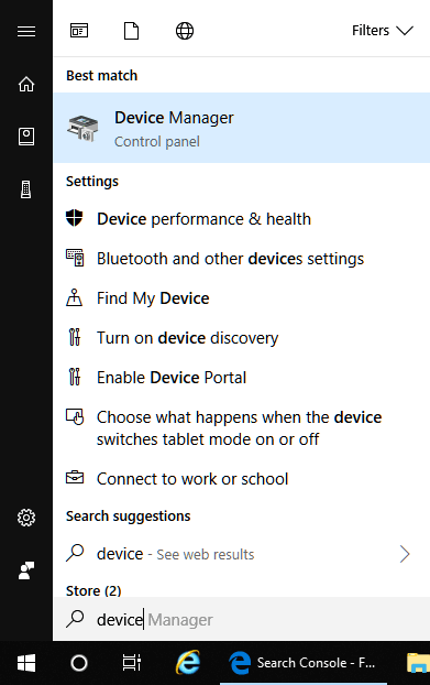 Open device manager in Windows 10