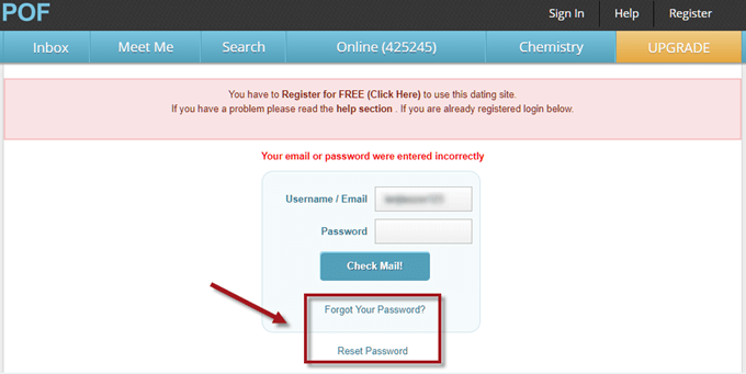 POF Login forgot password reset