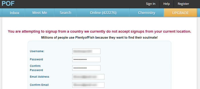 POF attempting to sign up from country do not accept