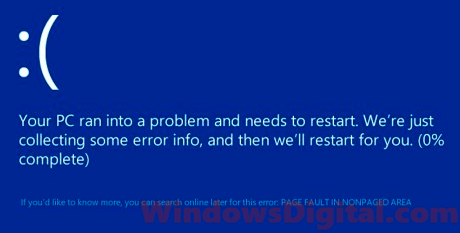 Page fault in nonpaged area Windows 10 blue screen error