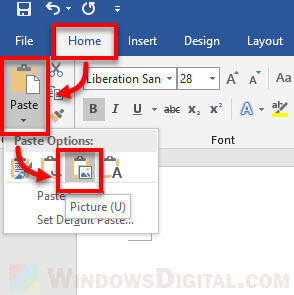 Paste as picture or image in Microsoft Word