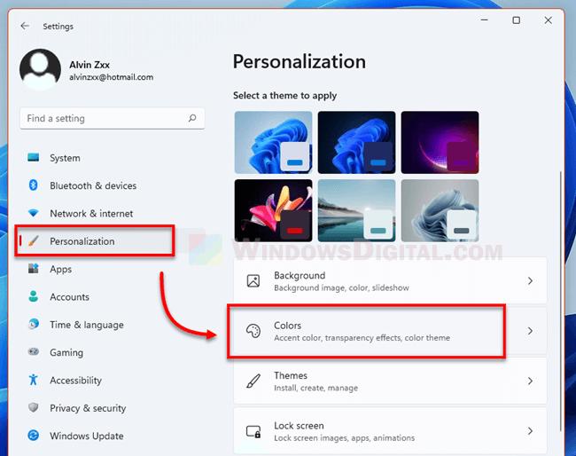 Personalization Colors Settings Windows 11