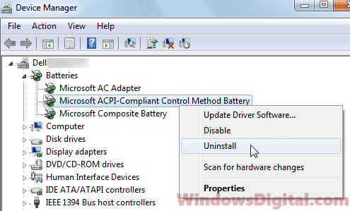 Plugged in not charging - uninstall laptop battery driver