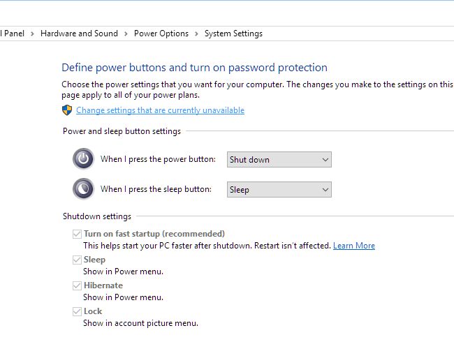 Power options Change settings that are currently unavailable