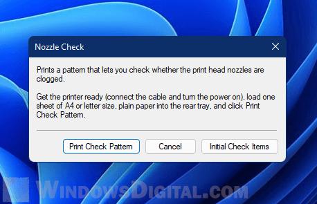 Printer Nozzle Check Windows 11