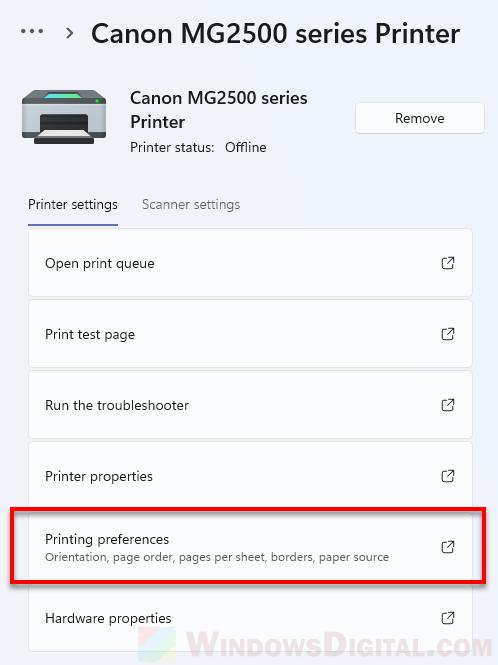 Printer Printing Preferences Canon HP Epson Windows 11