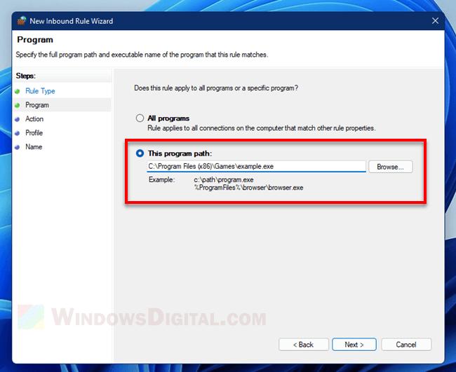 Program path Inbound Rule Wizard Windows 11 Firewall