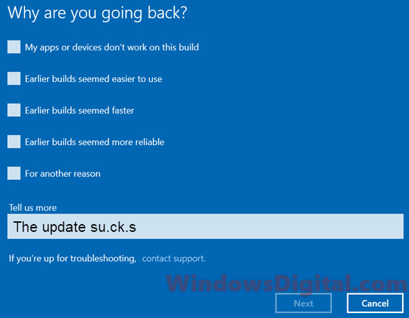 Reasons to roll back windows 10 update