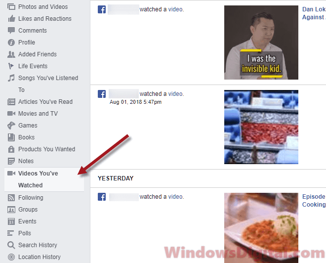 Recently Watched Videos on Facebook