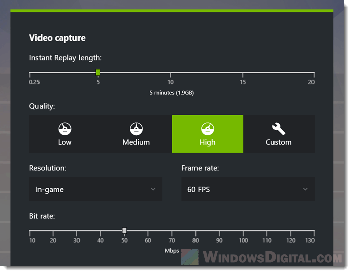Record screen Windows 10 video quality resolution frame bit rate