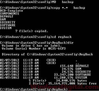 Registry backup fix Windows 10 startup repair loop