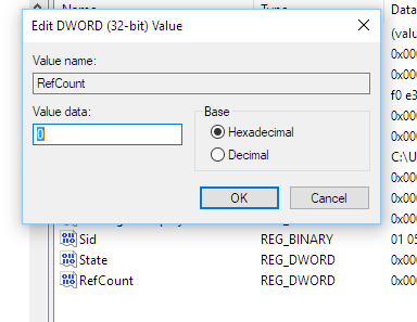 Registry enter value data refcount user profile service failed