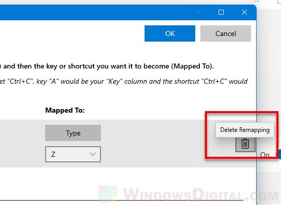 Remove keyboard key mappings