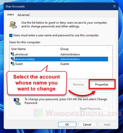 Rename user Netplwiz Windows 11