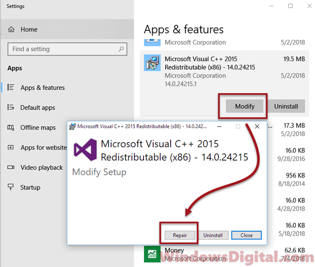 Repair Microsoft Visual C++ Runtime Library Error Windows 10