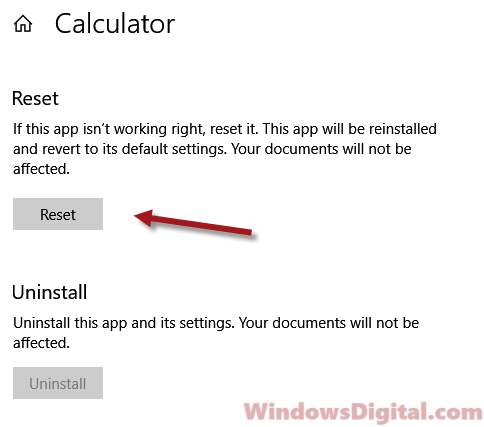 Reset Calculator app in Windows 10