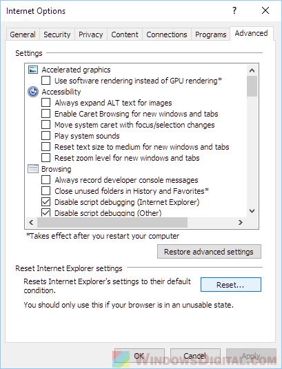 Reset Internet Explorer Proxy Settings Windows 10