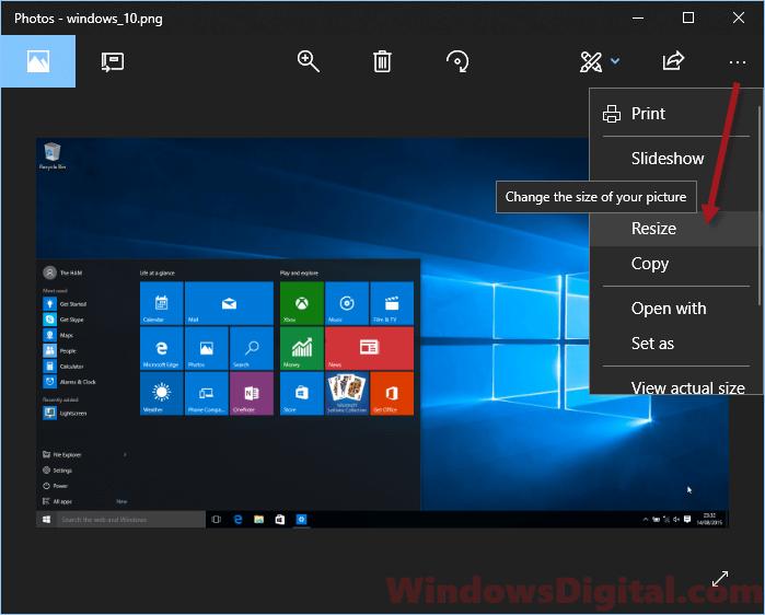 Resize image Windows 10 with Photos app