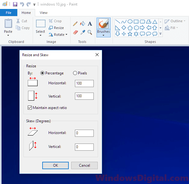 Resize images photos Windows 10 with Paint