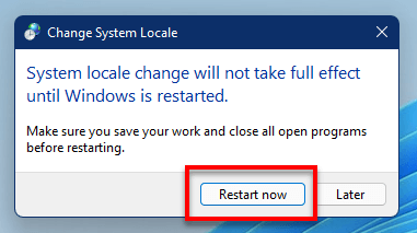 Restart Windows 11 to fix Chinese Japanese characters cannot display