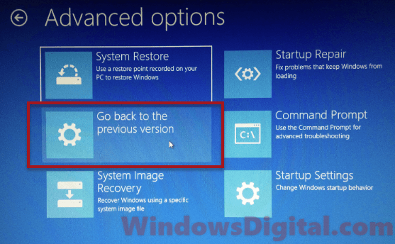 Rollback Preparing Automatic Repair Windows 10