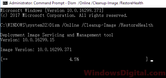 Run DISM tool in Windows 10 CMD svchost.exe high CPU