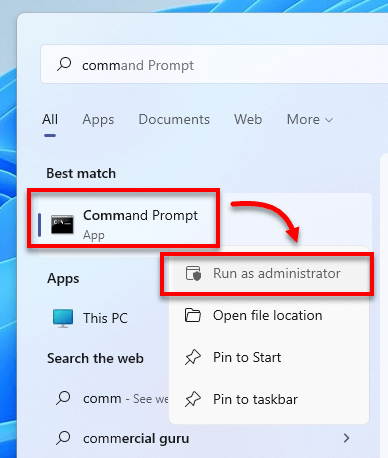 Run command prompt as administrator Windows 11