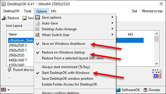 Save desktop icons on Shutdown and restore on startup Windows 10