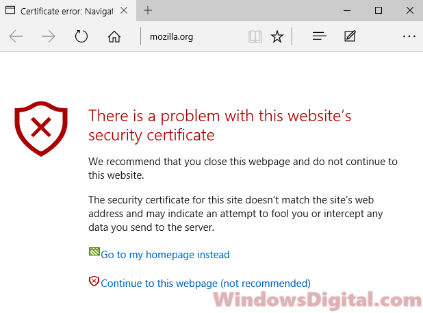Security Certificate error Windows 10 Edge IE