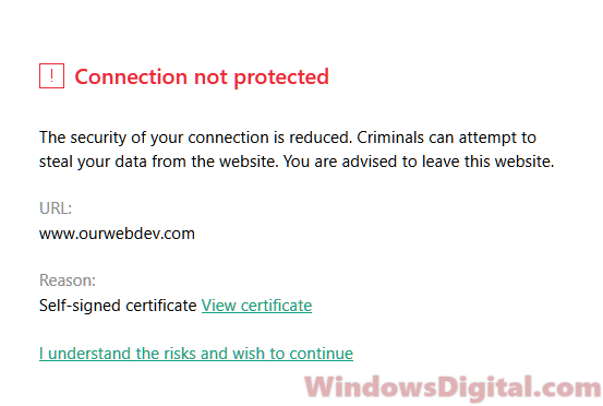 Security certificate error Windows 10 Firefox